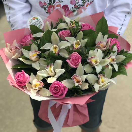 Орхидея, Розы. N229: букеты цветов на заказ Flowwow