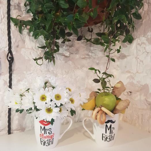 Мистер и мисс кружки: букеты цветов на заказ Flowwow