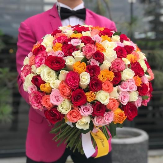 101 роскошных роз с уникальной доставкой: букеты цветов на заказ Flowwow