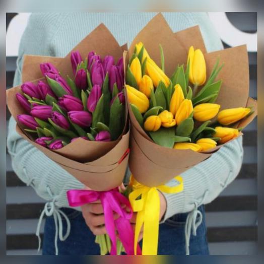 Тюльпаны 19шт. в дизайнерской крафт бумаге