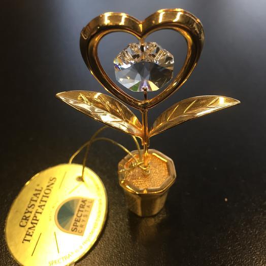 Сувенир Цветочек- сердце с кристаллами Сваровски