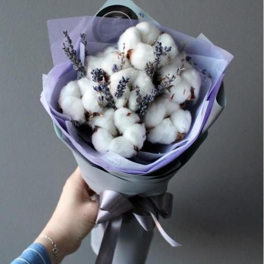 A bouquet of cotton and lavender