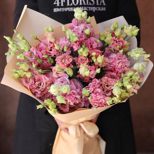 Монобукет из розовой эустомы