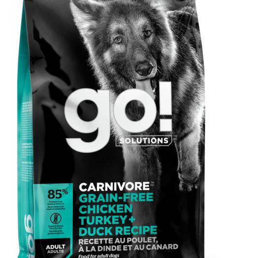 GO! беззерновой корм для собак всех пород 4 вида мяса: индейка, курица, лосось, утка 9,98 кг