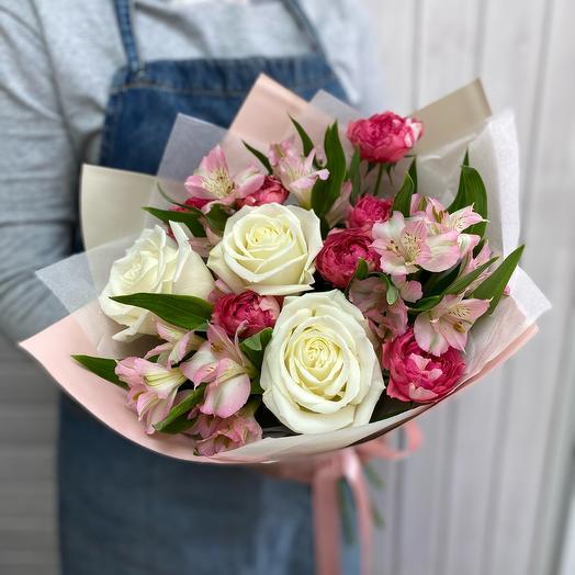 Букет с белой розой