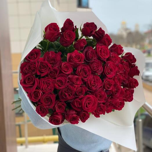 51 Роза 90 см белый