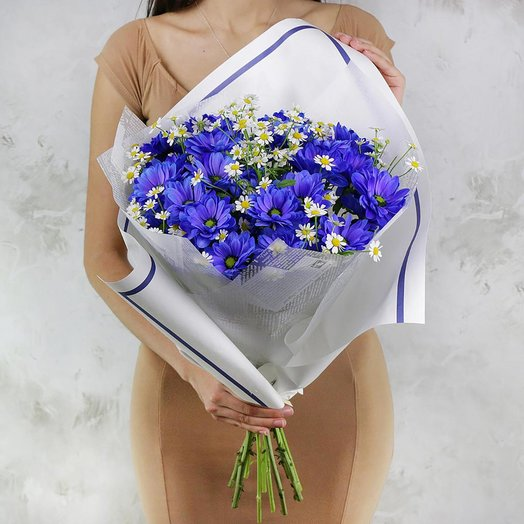 Букет из хризантем и ромашек: букеты цветов на заказ Flowwow