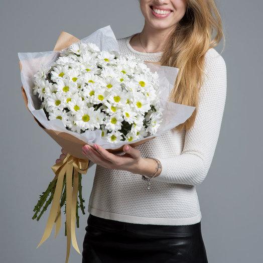Букет из белоснежных хризантем