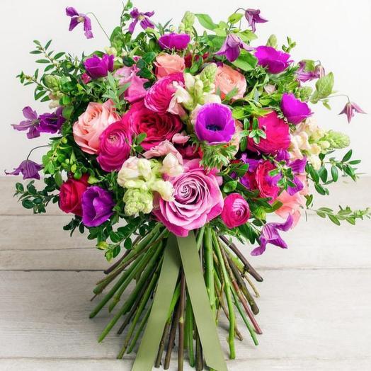 Букет с анемонами и клематисом: букеты цветов на заказ Flowwow