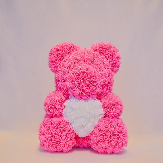 Мишка из роз с сердцем RozaRose Розовый - 40 см