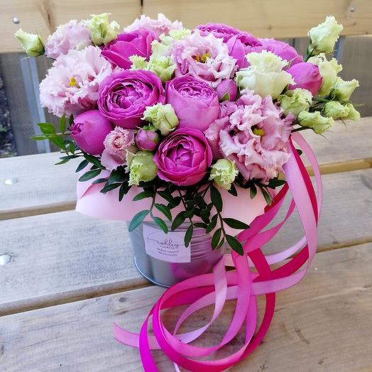 Пионовидное ведерко: букеты цветов на заказ Flowwow