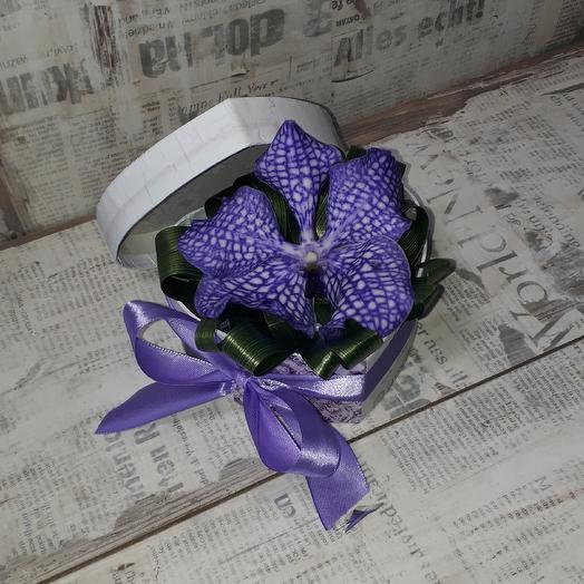 Коробочка сердце с необыкновенной орхидеей Ванда: букеты цветов на заказ Flowwow
