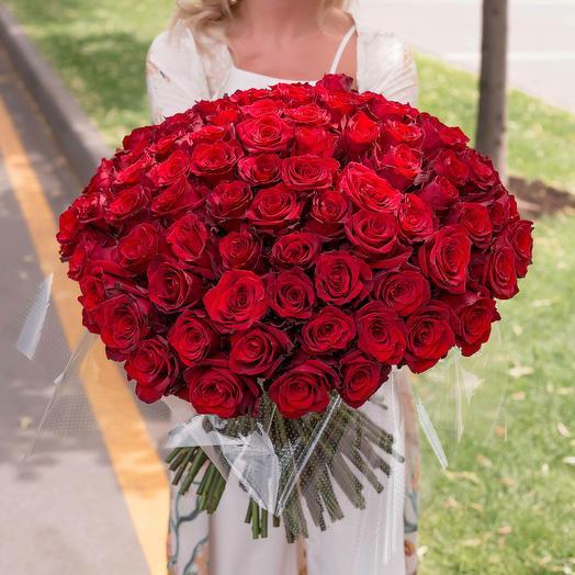 """Букет """"101 Красная Роза высокая"""": букеты цветов на заказ Flowwow"""