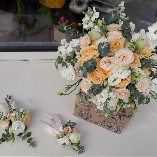Букет невесты персиковый