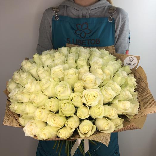 101 белая роза 50 см: букеты цветов на заказ Flowwow