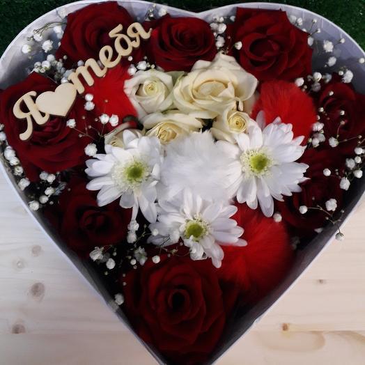 Коробка-сердце Я люблю тебя: букеты цветов на заказ Flowwow