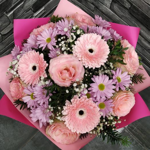 """Букет с розами,хризантемой и герберой """"Розовые мечты"""": букеты цветов на заказ Flowwow"""