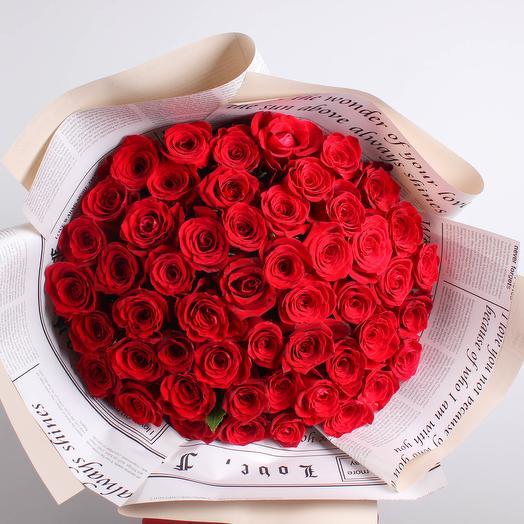 Букет из красной розы 51 шт: букеты цветов на заказ Flowwow