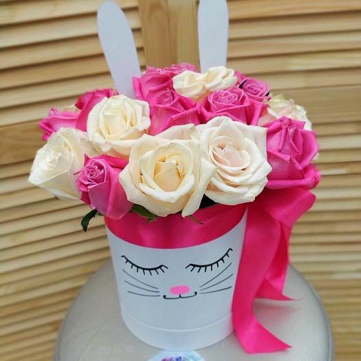 Розы в коробке «зайка»