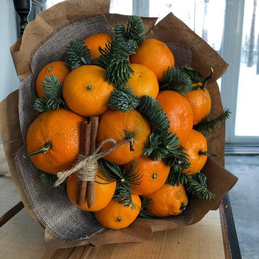 Новогодний съедобный букет из мандаринов