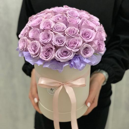 Букет из 41 розы в шляпной коробке