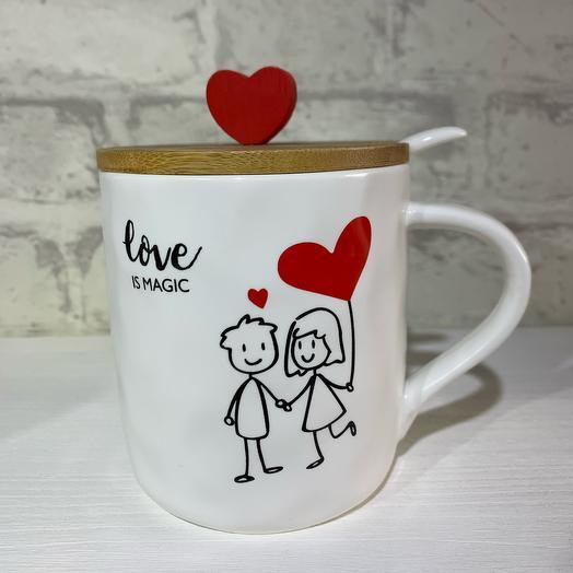 Кружка Love с деревянной крышкой и ложкой