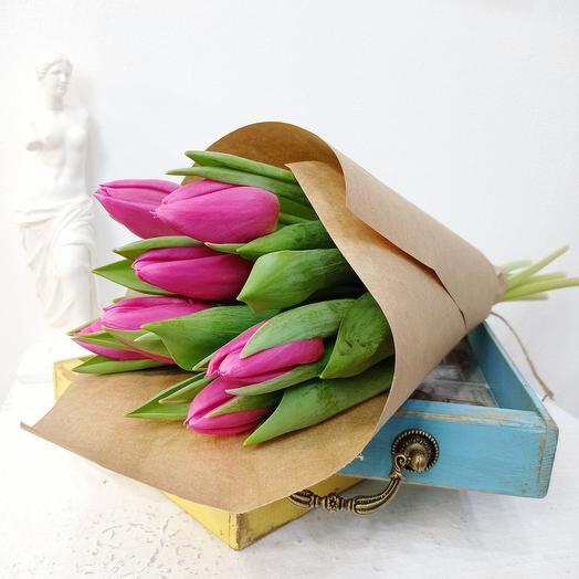 Семь розовых тюльпанов 50см