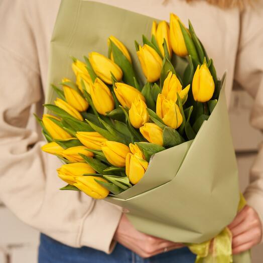 """25 тюльпанов в гамме """"SUNNY SPRING"""""""