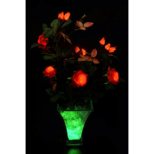 Светодиодные цветы Розовый куст Желто-красный (зел)