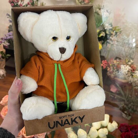 Мягкая игрушка «Белый медвежонок в красном»