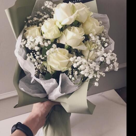 Роза с гипсофилой 9