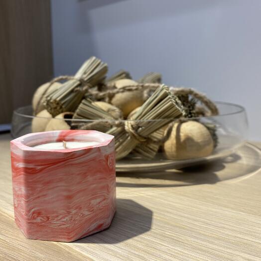 Соевая ароматическая свеча в гипсовом кашпо
