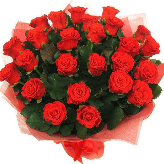Букет из 25 красных сортовых роз: букеты цветов на заказ Flowwow