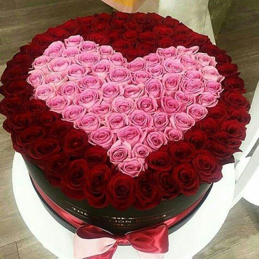 Шляпная коробка «Сердце из роз»: букеты цветов на заказ Flowwow
