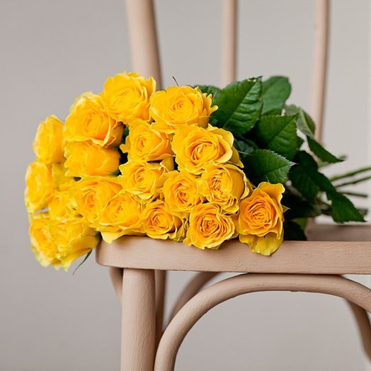 Bouquet of 19 yellow roses