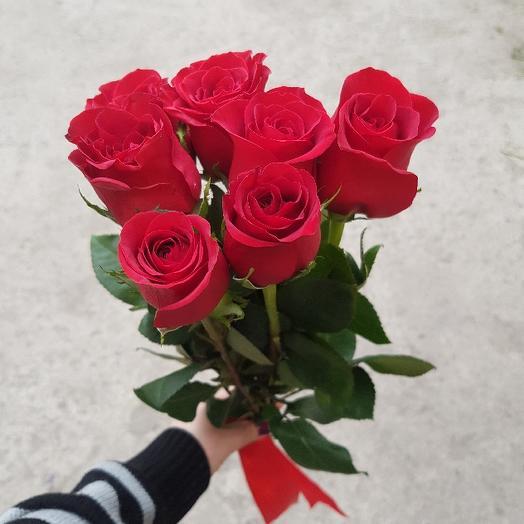 Букет из 7 красных роз 50 см: букеты цветов на заказ Flowwow