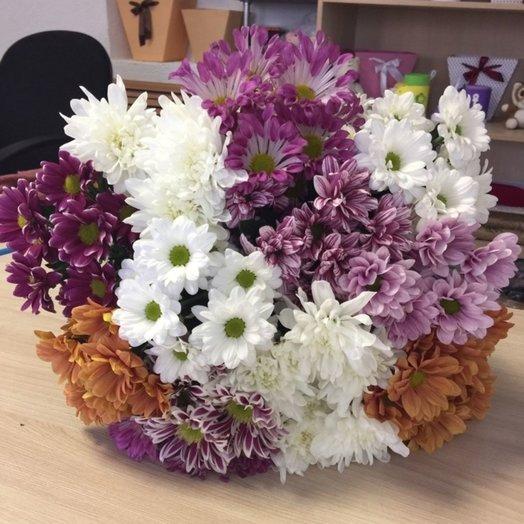 Букет из хризантем в крафте: букеты цветов на заказ Flowwow
