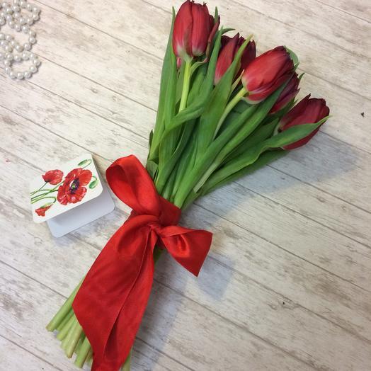 Букет из 15 красных тюльпанов: букеты цветов на заказ Flowwow