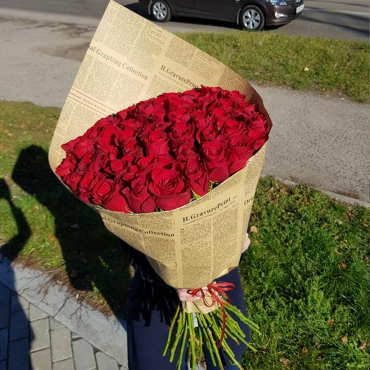Огромный букет из красных роз