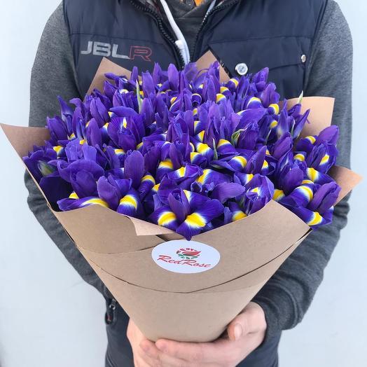 Букет из 51 Синего Ириса в крафт бумаге: букеты цветов на заказ Flowwow