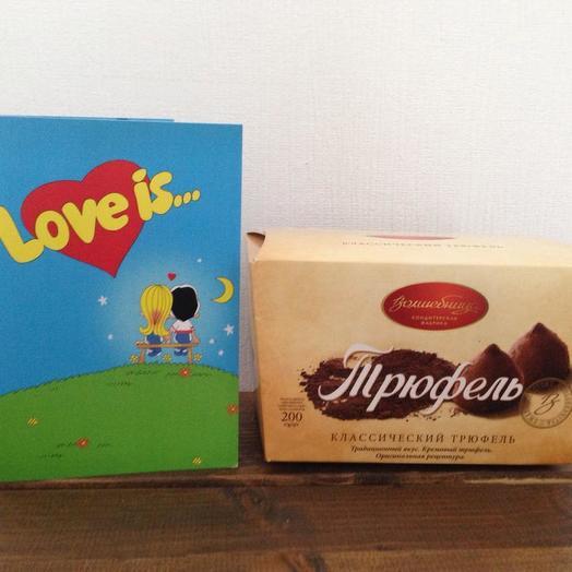 Трюфель  и открытка с шоколадками: букеты цветов на заказ Flowwow