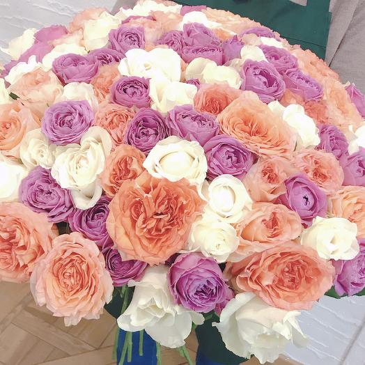 101 пионовидная роза: букеты цветов на заказ Flowwow