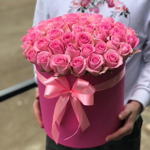 Коробка с цветами. 51 розовая роза. N452: букеты цветов на заказ Flowwow
