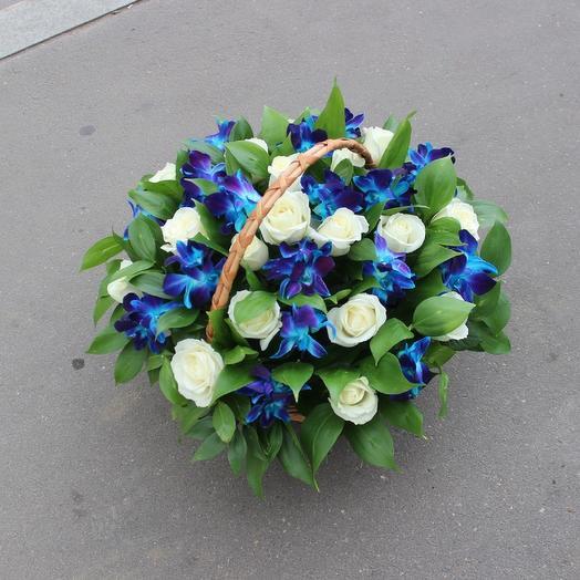 Белая роза с синими дендробиум