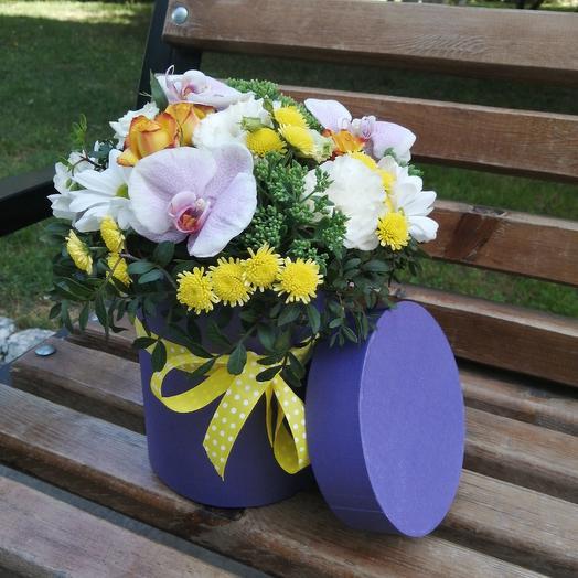 Шляпная коробочка с орхидеями: букеты цветов на заказ Flowwow