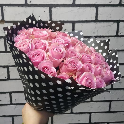 Нежно розовый букет из роз: букеты цветов на заказ Flowwow