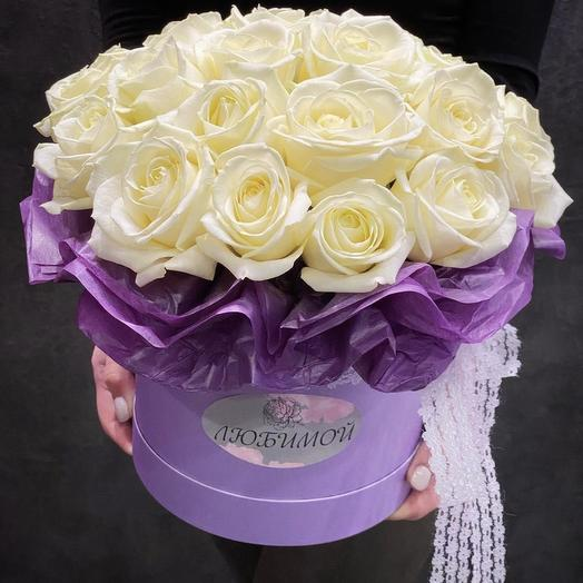 Коробка ко дню влюблённых с розами: букеты цветов на заказ Flowwow