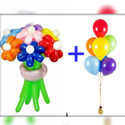 Букет ромашек + фонтан из 7 шаров