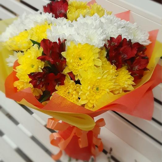 Хризантемы и альстромерии