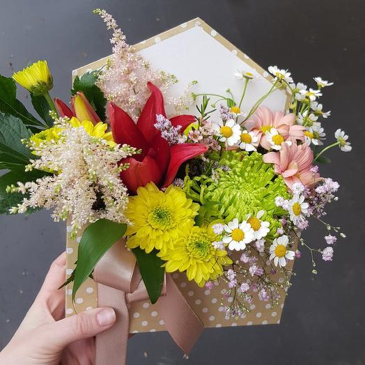 """Конвертик """"Яркое послание"""": букеты цветов на заказ Flowwow"""